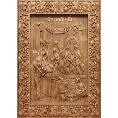 Рождество Пресвятой Богородицы - резная икона из дуба