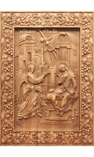 Благовещение Пресвятой Богородицы - резная икона из дуба