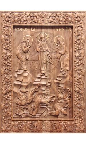 Преображение Господне - резная икона из дуба