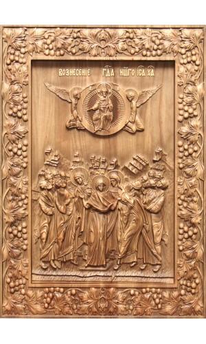 Вознесение Господа - резная икона из дуба