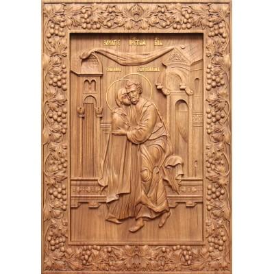 Зачатие Пресвятой Богородицы - резная икона из дуба