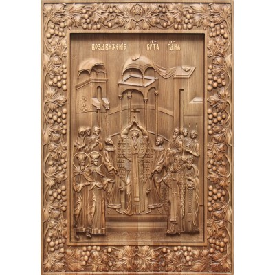 Воздвижение Креста Господня - резная икона из дуба